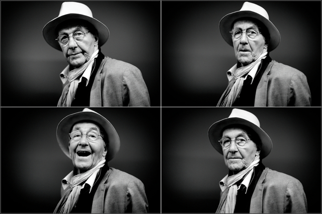 René Burri joking during the portrait session in Zurich